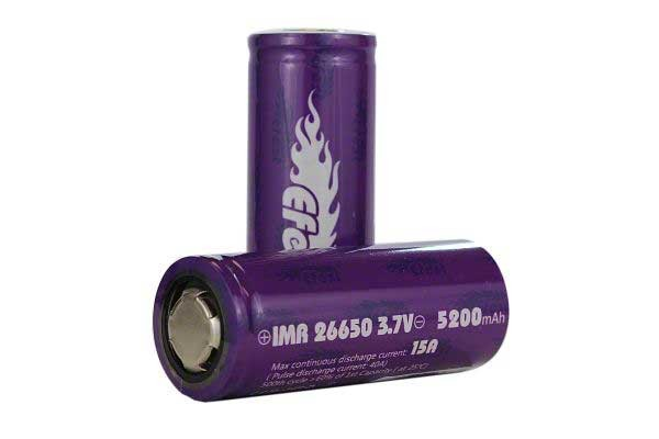 Efest 15A 26650 Flat Top Battery 5200 mAh - 2 Pack