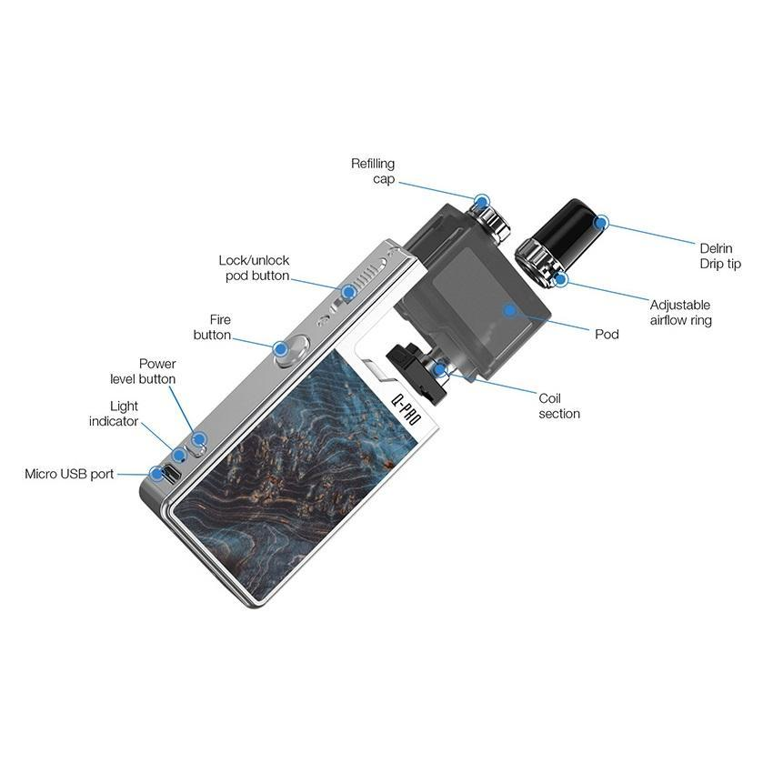 Lost Vape Orion Q Pro Kit - Silver/Blue Stabwood