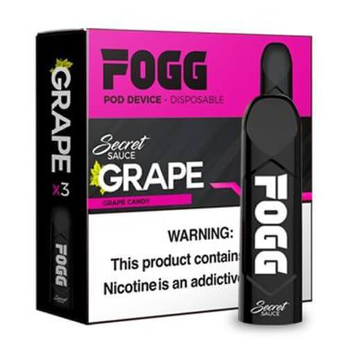 FOGG Vape - Ultra Portable and Disposable Device - Grape - 3 Pack / 50mg
